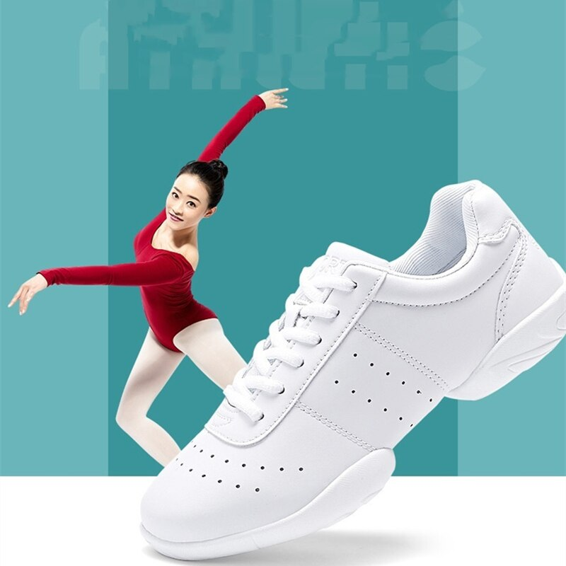 New white sneakers for girls Modern/Jazz/Hip-Hop Dance Shoes Athletic Aerobics Shoes Soft-soled Flat