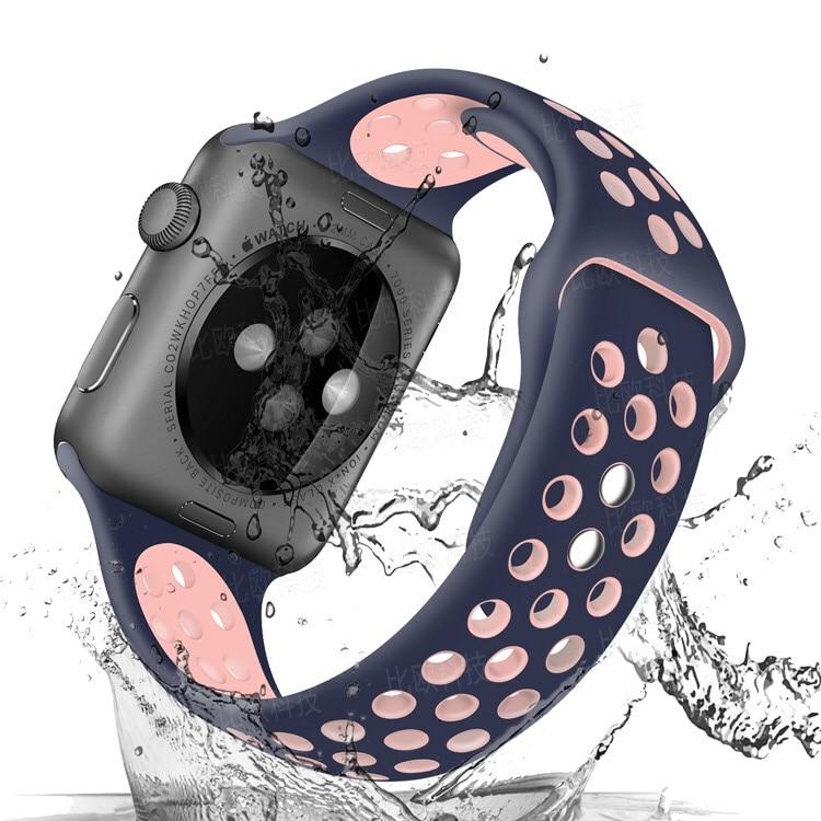 Midnight Blue Nike + Sport Ademend horlogeband voor Apple Smart Horloge 38/40/42/44mm Siliconen strap bands 1/2/3/4G polsband