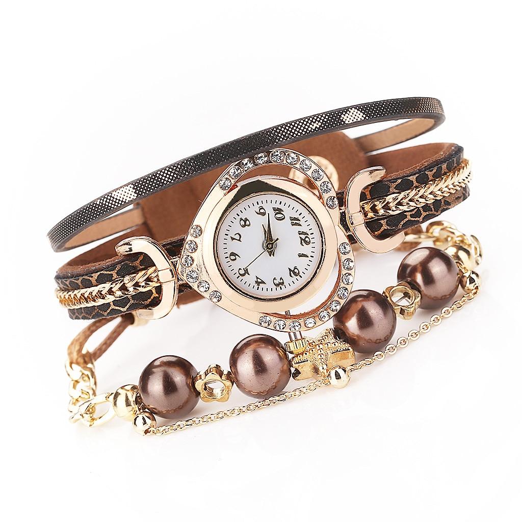 Luxury Fashion Women Wirst Watch Vintage Shining Pearl Bracelet Dial Analog Quartz Wrist Watch женские часы недорого W1