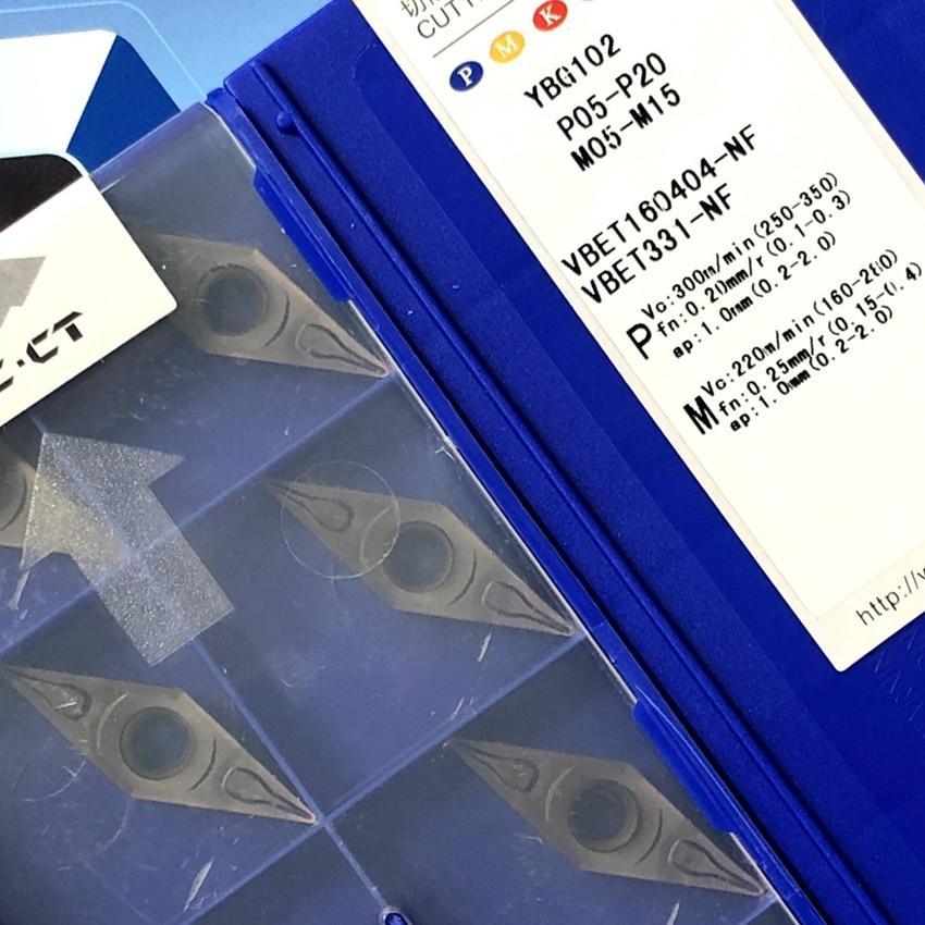 ZCC.CT VBET160404-NF YB9320 / VBET160404-NF YBG102 VBET331 للصلب ، الفولاذ المقاوم للصدأ CNC كربيد إدراج 10 قطعة/صندوق