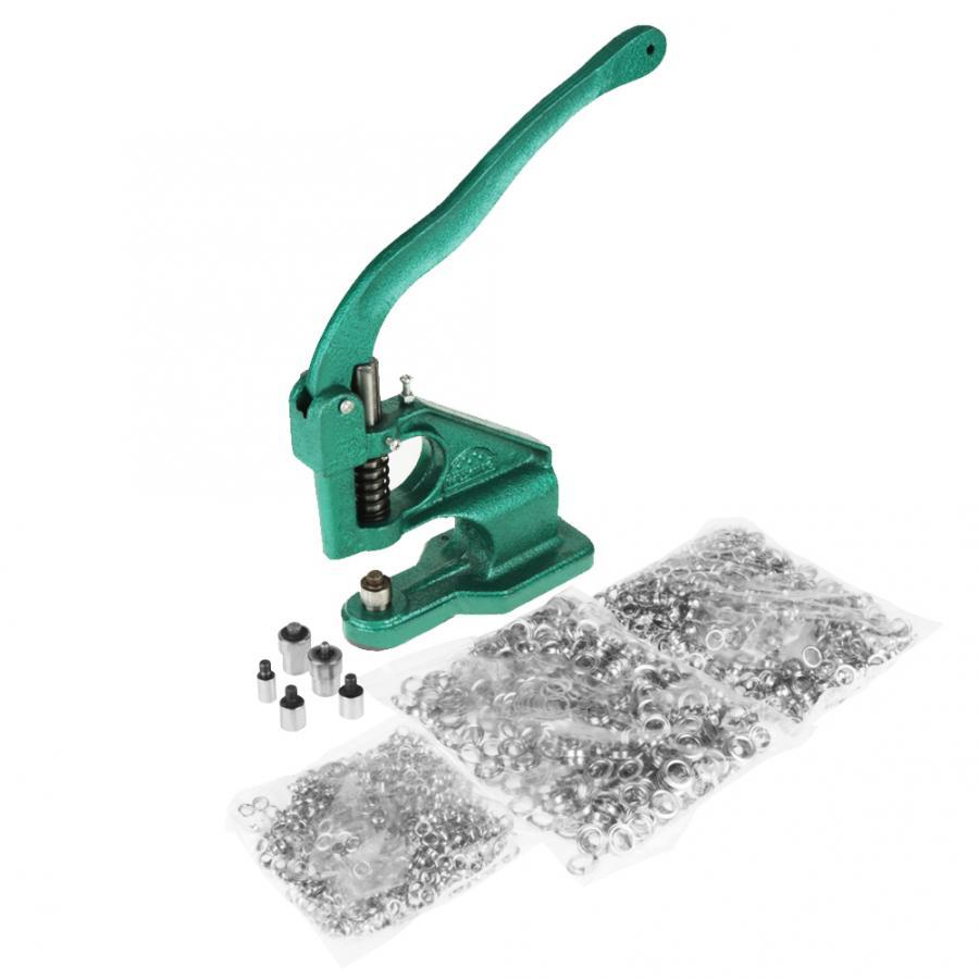 Máquina de ojales de prensa manual con 3 troqueles + 1500 Uds. Arandelas 6/10/12mm, juego de herramientas para máquina de ojales 1 unidad