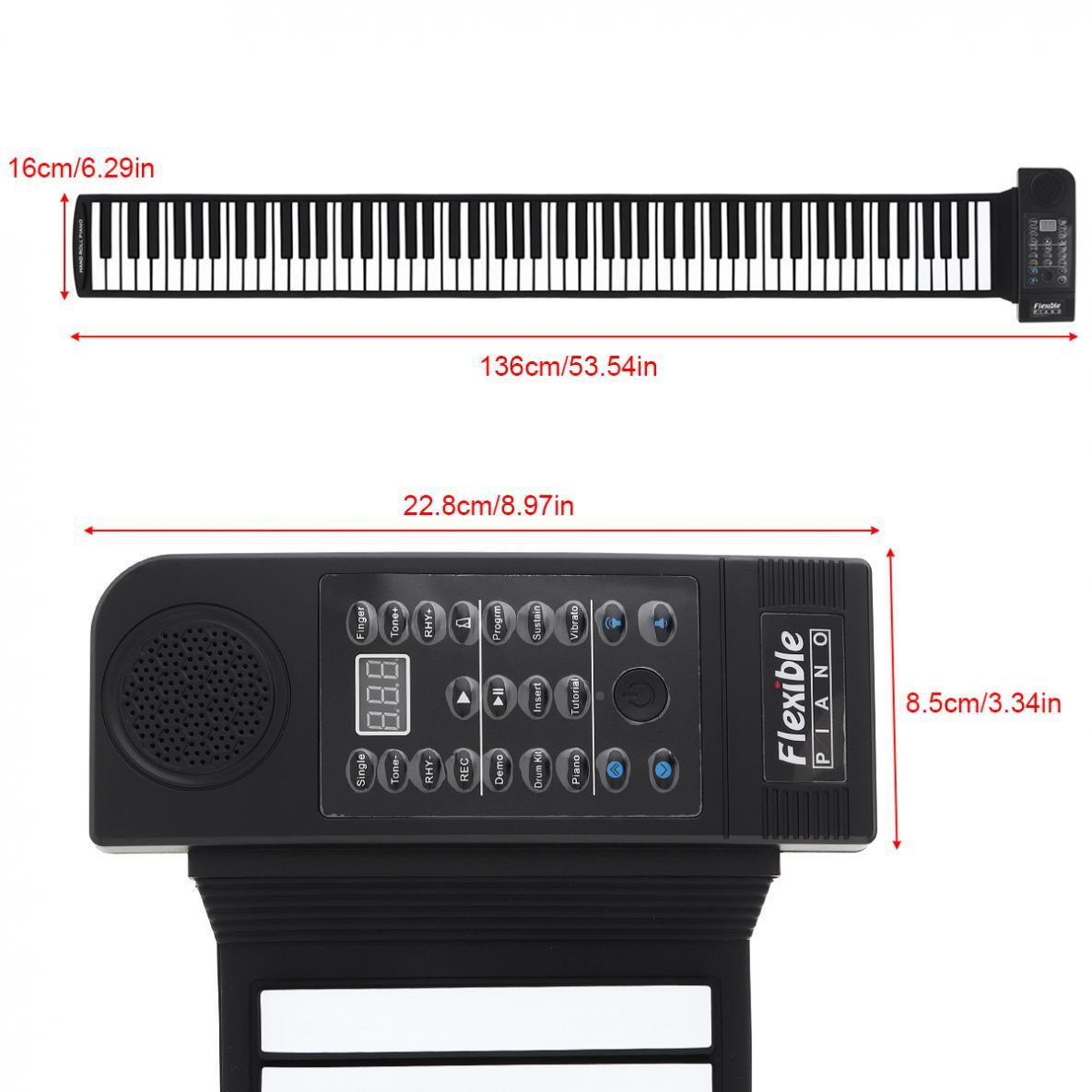KONIX PU88M 88 Keys MIDI 128 Tones Electronic Organ Roll Up Folding Piano Built-in Speaker for Kids beginners /  Performance enlarge