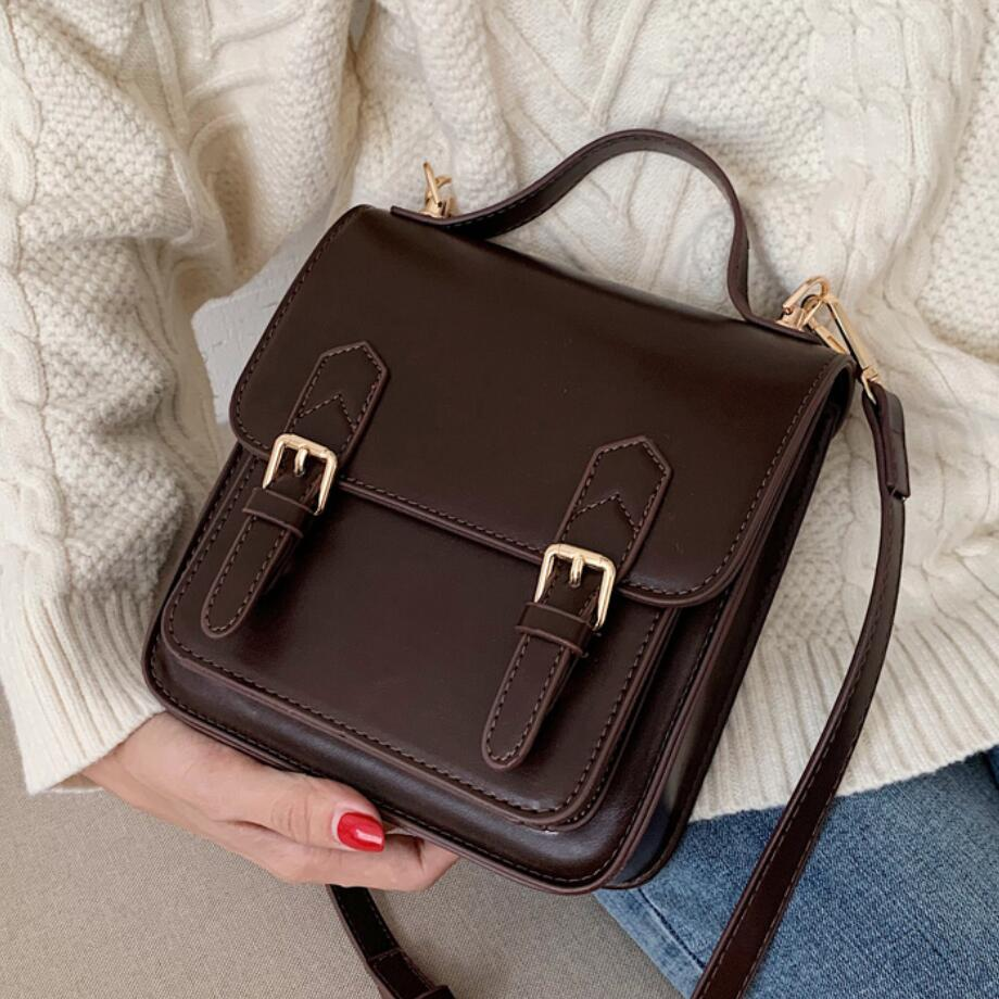Elegant Female Solid color Tote bag 2021 New High quality PU Leather Women's Designer Handbag Vintage Shoulder Messenger Bag