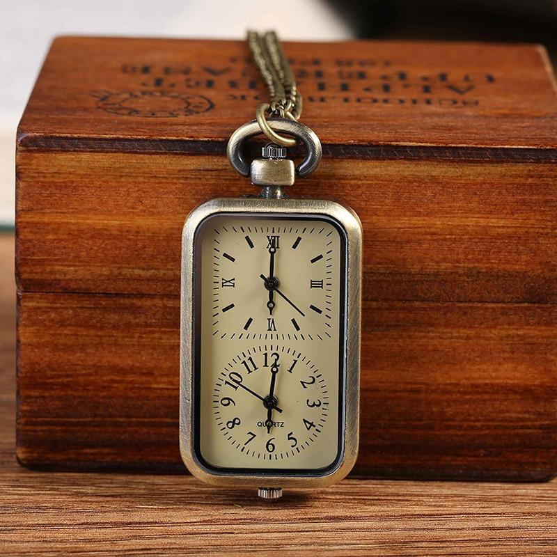 Винтажные карманные часы Бронзовый 46 мм двойной Дисплей большой кварцевые карманные часы Модные Винтажные подарочные карманные часы