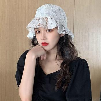 Elegant SUMMER HAT for WOMEN Floppy Soft Ladies Lace Flower Brim Hat Packable WHITE BLACK Sun Hat Bucket Cap Wedding Party Hat