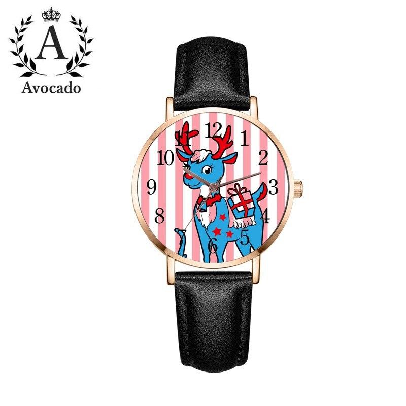 Новые цифровые кварцевые часы в розовую полоску для девушек, женские наручные часы с кожаным ремешком, рождественский подарок