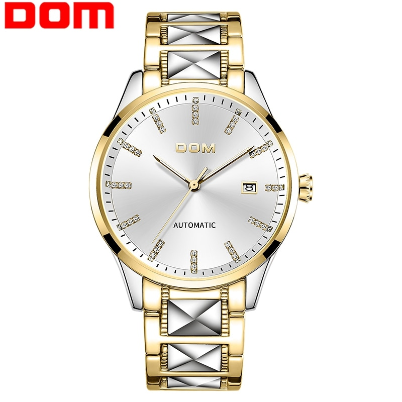 Dom men assista automático relógios mecânicos data automática moda luxo marca homem à prova dwaterproof água relógio de pulso negócios M-1278D-1M