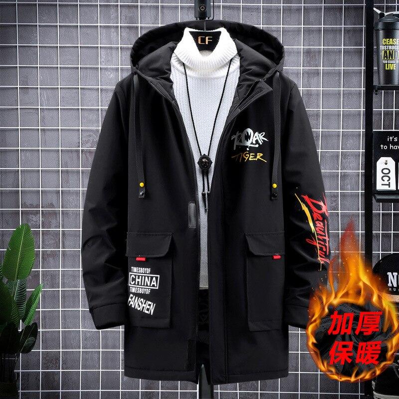 Мужская Длинная ветровка размера плюс, мужское пальто, мужская верхняя одежда, черная Повседневная новая свободная куртка
