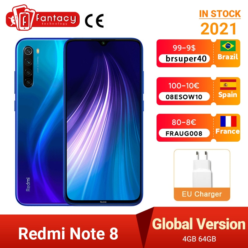"Global Version Xiaomi Redmi Note 8 2021 MTK Helio G85 4GB 64GB 48MP Quad Camera Smartphone Octa Core 6.3"" FHD Screen 4000mAh"