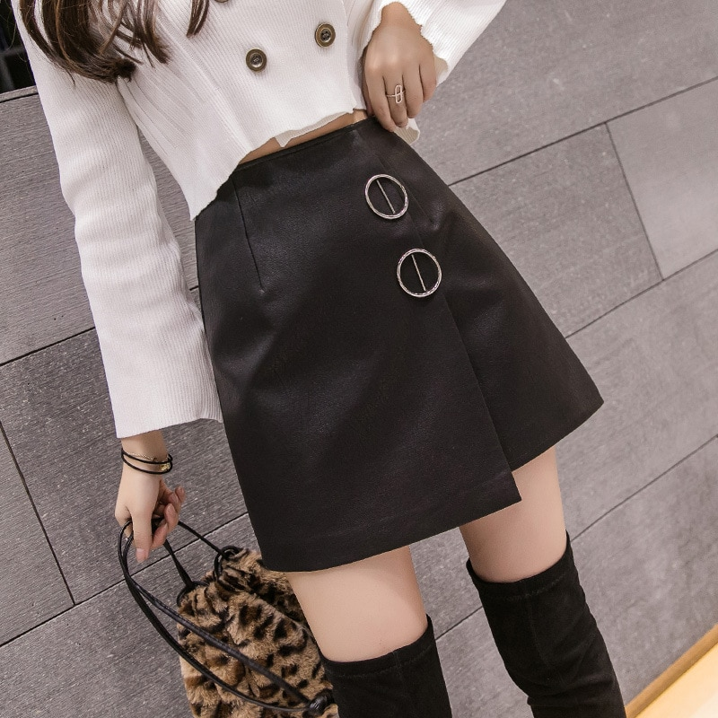 S-2xl Black Leather Mini Skirt Women For Autumn 2019 Winter High Waisted Pu Skirt Womens Spring Slim Irregular Black Skirt Jupe Femme