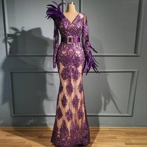 Purple Lace Mermaid Prom Dresses v Neck Sheer Long Sleeves Feather Eveing Gowns Beaded Belt Floor Length Formal Party Dress Robe