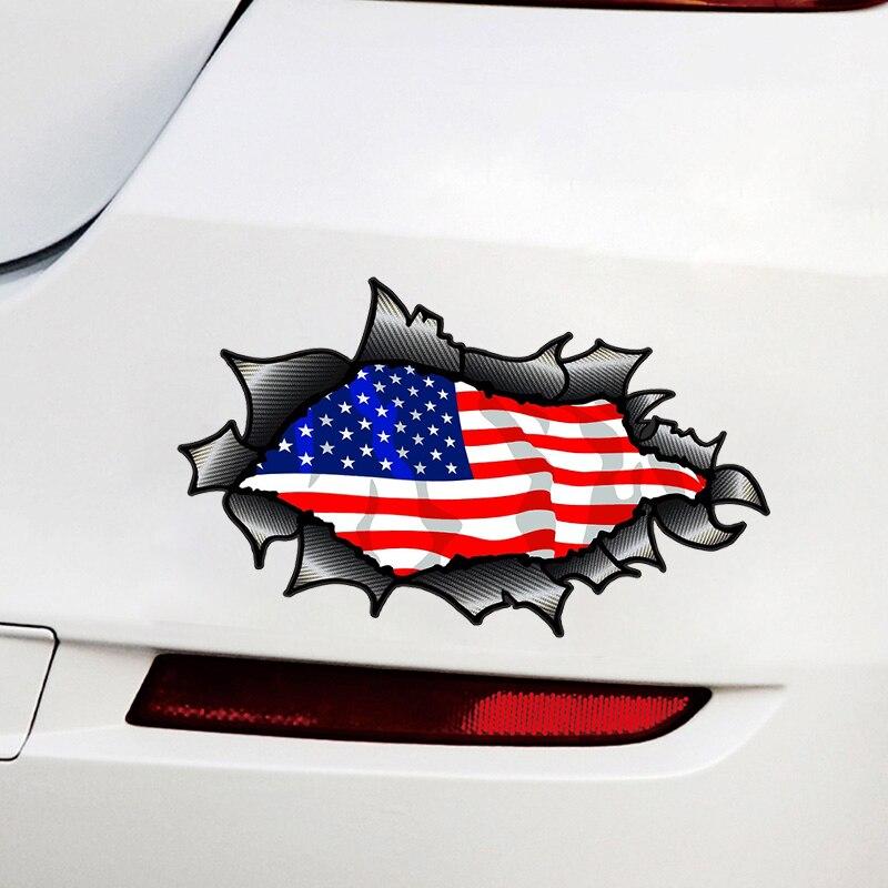 11355 # различные размеры Съемная наклейка американские звезды и полосы Флаг США Автомобильная наклейка Водонепроницаемая на бампер заднее о...