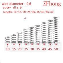 Micro petit ressort de Compression en acier inoxydable   20 pièces 0.6*6 * L diamètre 0.6mm OD 6mm en acier inoxydable, 10mm-50mm
