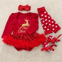 merry christmas newborn baby girl xmas romper sets long sleeve deer romper jumpsuit 4 piece infant party costume baby clothes