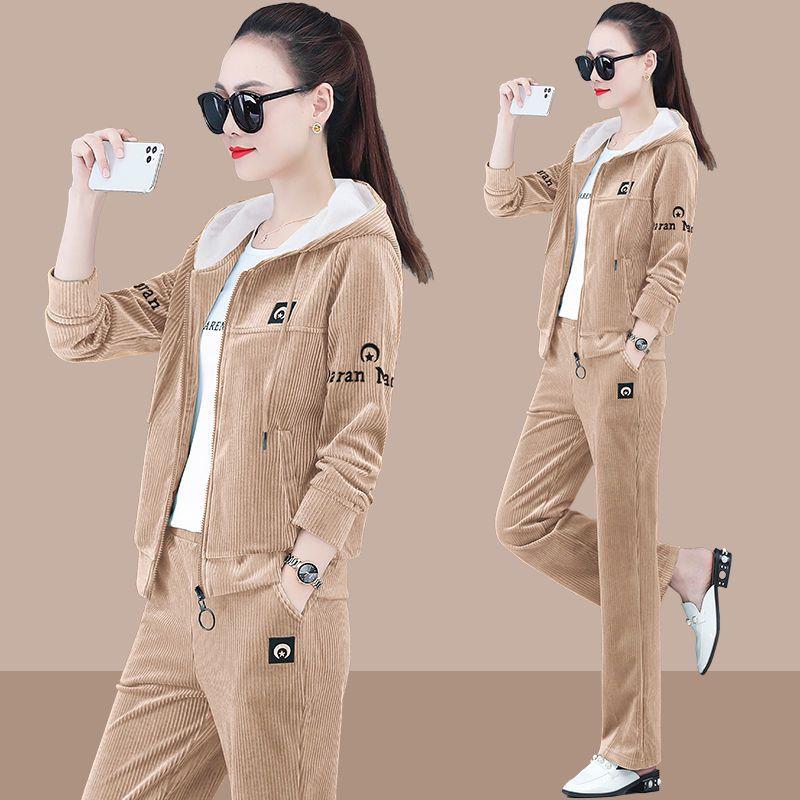 بدلة تي شيرت قطنية نسائية ، ملابس رياضية عصرية ، موضة كورية ، أوقات الفراغ ، مجموعتين ، مجموعة ربيع وخريف 2021