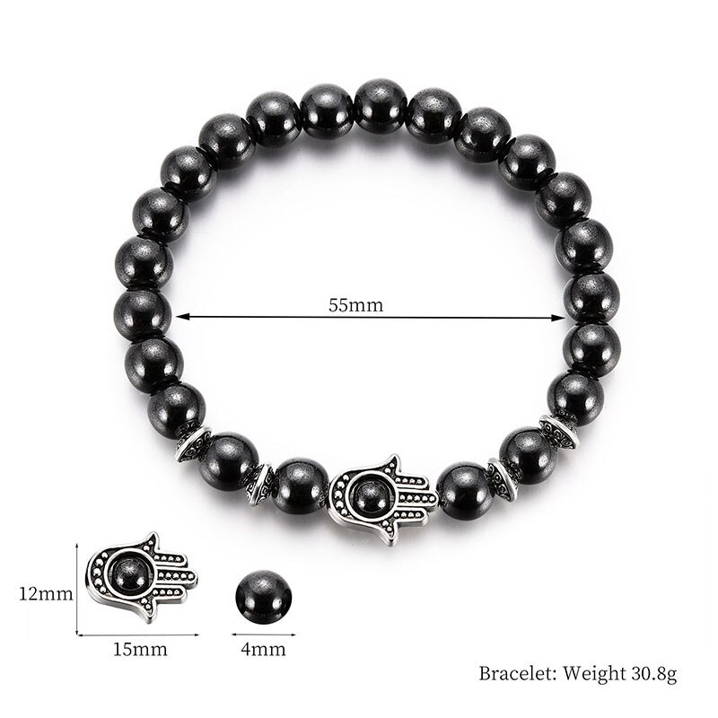 Explosive Factory Direct Sales Fashion Personality Bergamot Black Gallstone Magnetic Magnet Bracelet Summer Travel Accessories  - buy with discount