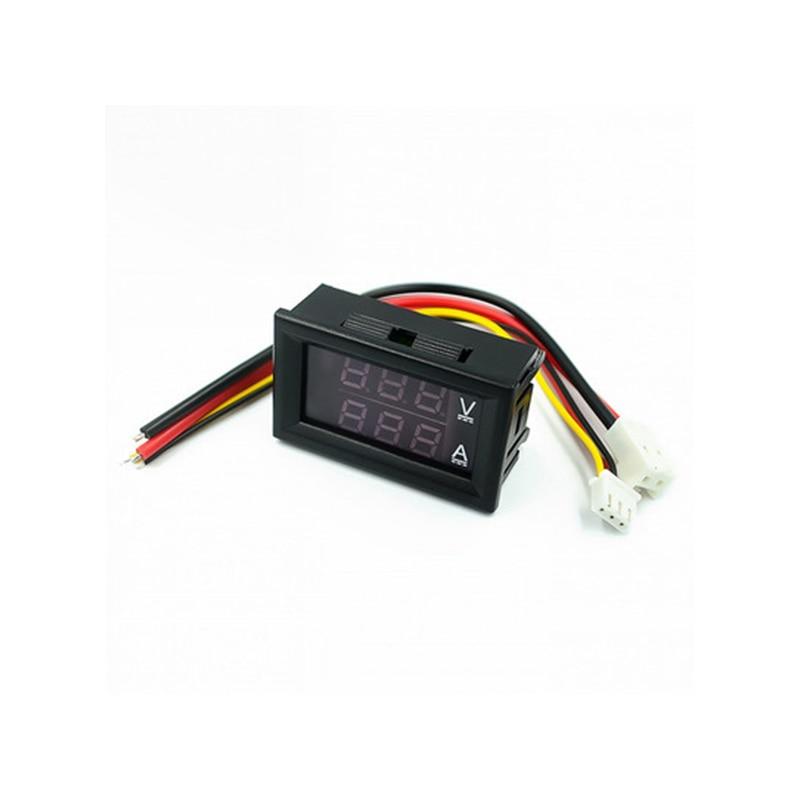 DC 0-100V 10A Digital Voltmeter Ammeter Dual Display Voltage Detector Current Meter Panel Amp Volt Gauge Red Blue LED недорого