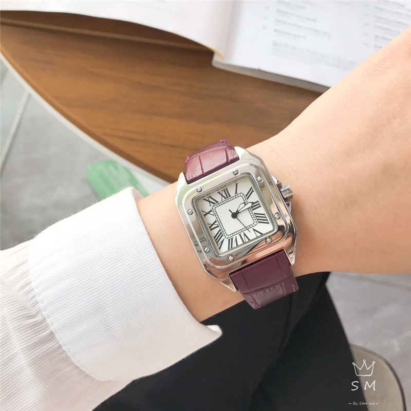 brand C quartz watches square watch genuine leather wrist watches for woman enlarge