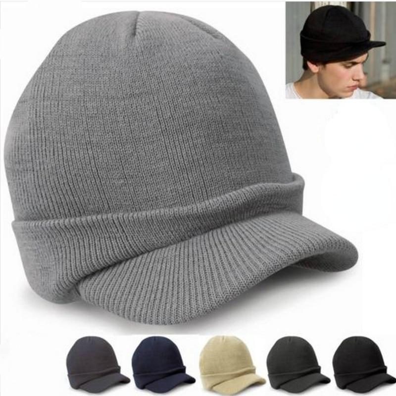 Зимние женские шапки с козырьком, облегающие шапки, мужские зимние однотонные вязаные берет, теплые военные шапки для женщин, оптовая прода...