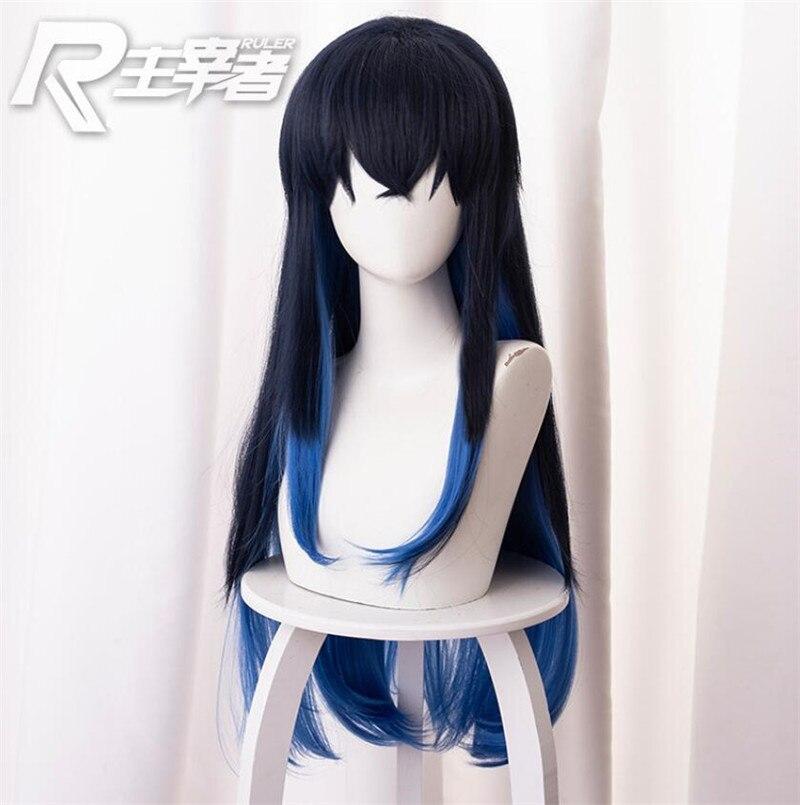 Demon Slayer-Peluca de Cosplay Kimetsu no Yaiba Hashibira Inosuke, peluca de pelo largo liso con degradado, o carnaval disfraz de Halloween, pelucas de 80cm