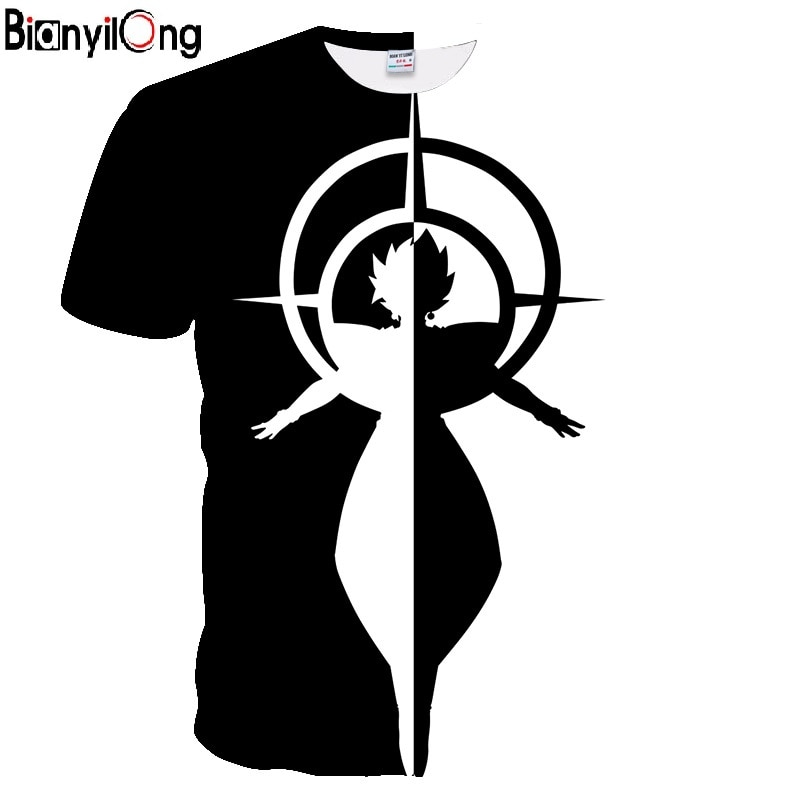 Pokemon 2019 Anime nuevo dragon ball Vegeta Super Saiyan Goku negro y blanco camiseta de hombre efecto 3D traje camiseta hombres camiseta