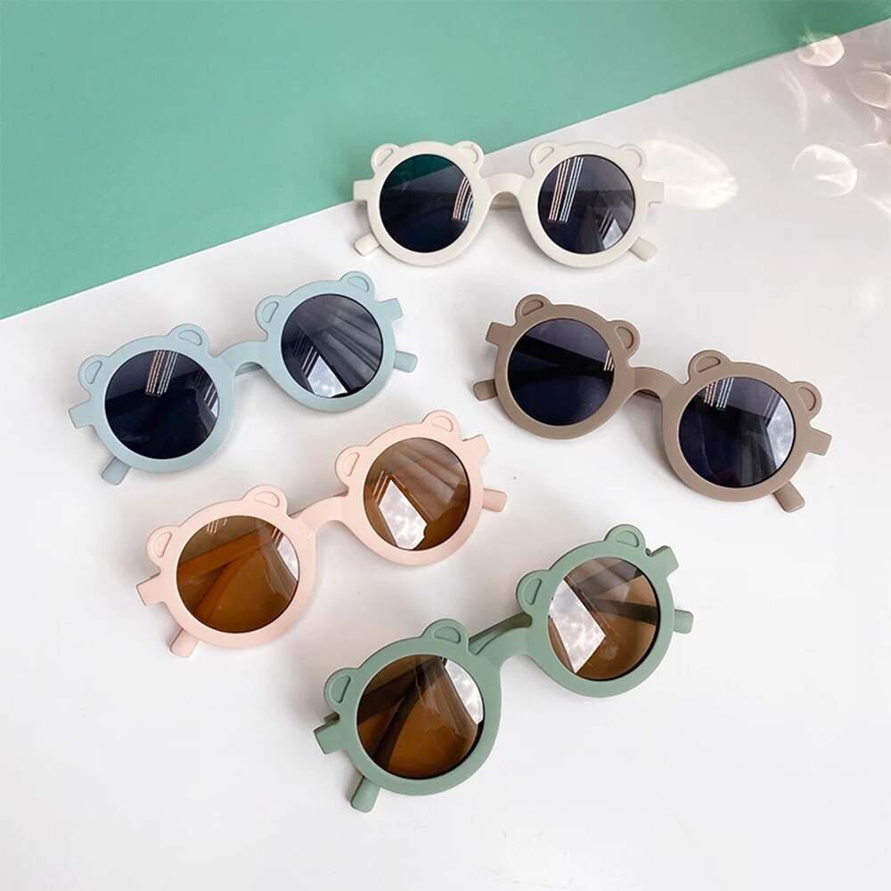 New Kids Sunglasses Cartoon Bear Shape Girls Boy Children Sun Glasses Round Street Beat Eyeglasses C