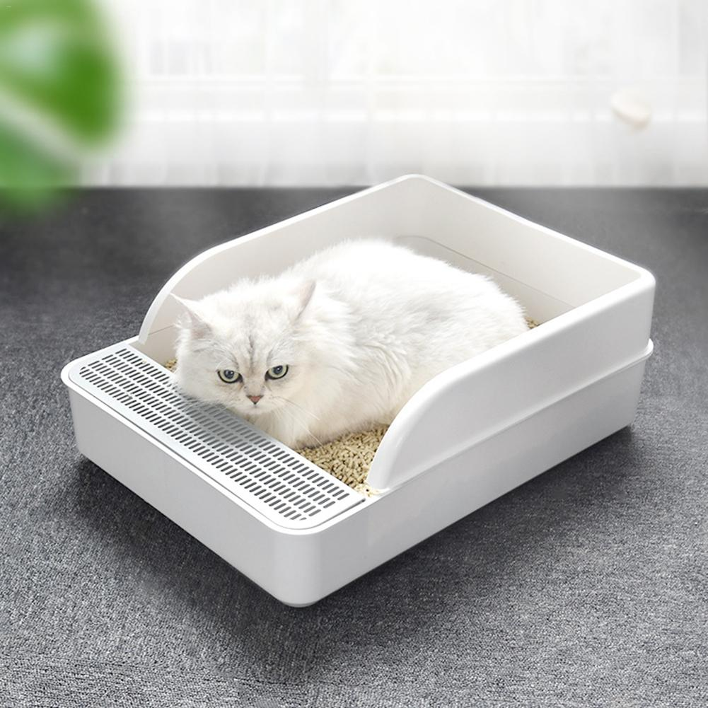 Caja de arena para gatos antisalpicaduras desodorante Semi-cerrado para perros para mascotas para gatos perros pequeños