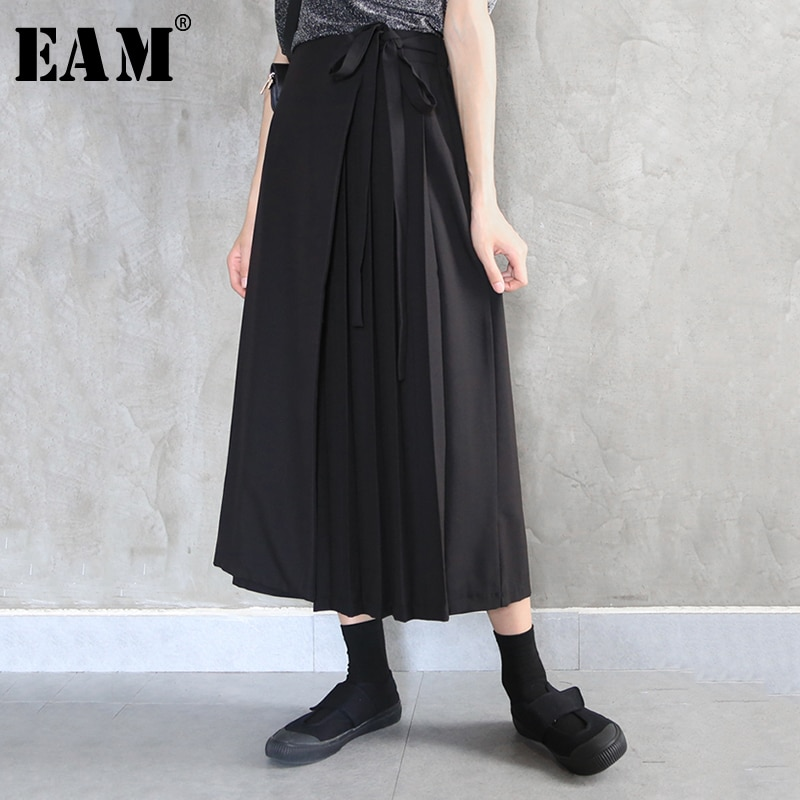 Женские свободные брюки [EAM], черные брюки с высокой эластичной талией, плиссированные широкие брюки, весна-осень 2020 1N549