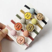 Cuerda sencilla coreana para el pelo para mujer, lazos para el pelo con letras en H, bola grande, Scrunchies, banda de goma para niña salvaje, accesorios para el cabello para mujer