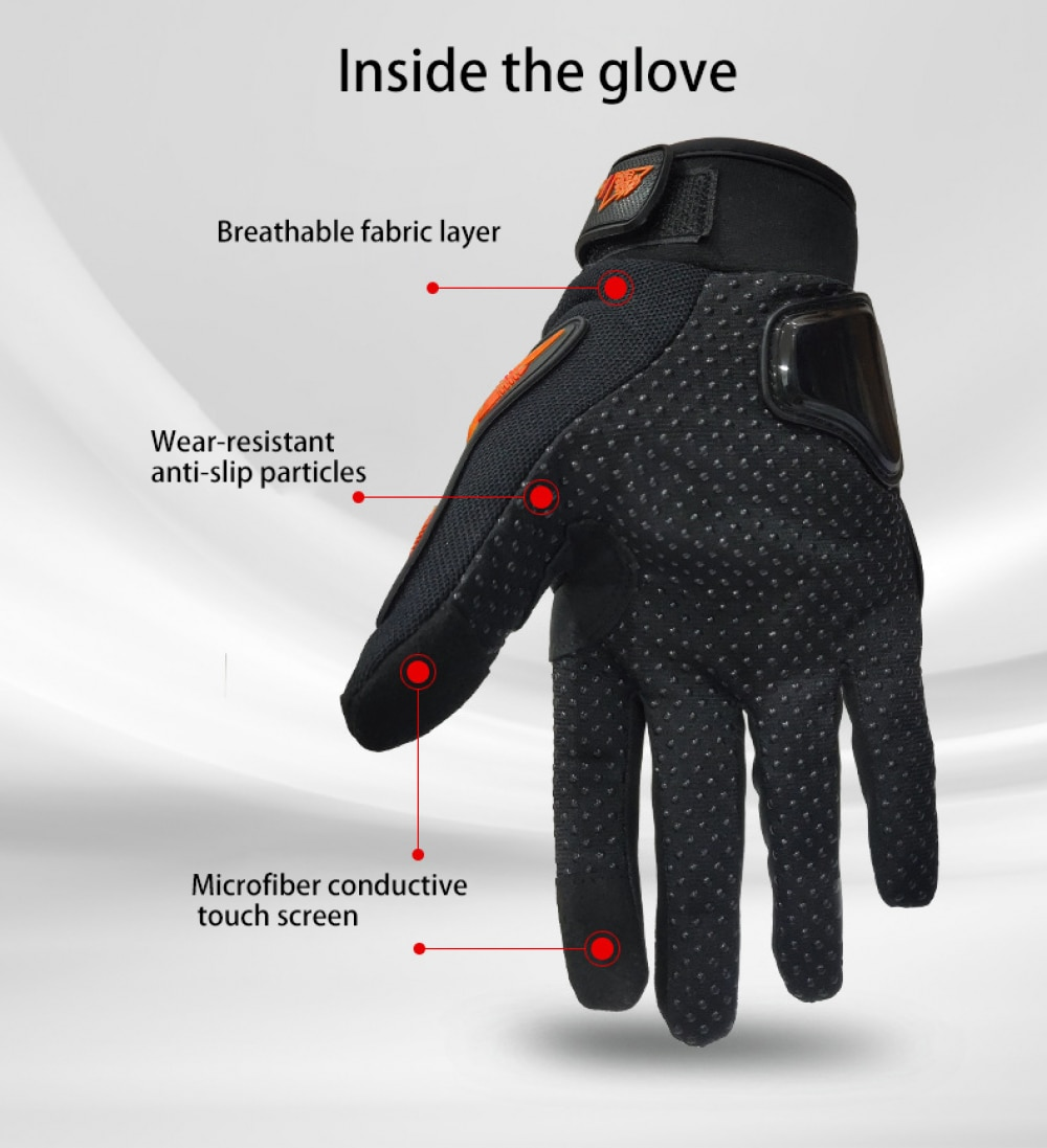 Glove Motorcyclist Touch Screen Full Finger Breathable Powered Outdoor Motorbike Racing Bicycle Gloves Summer Cycling Equipment