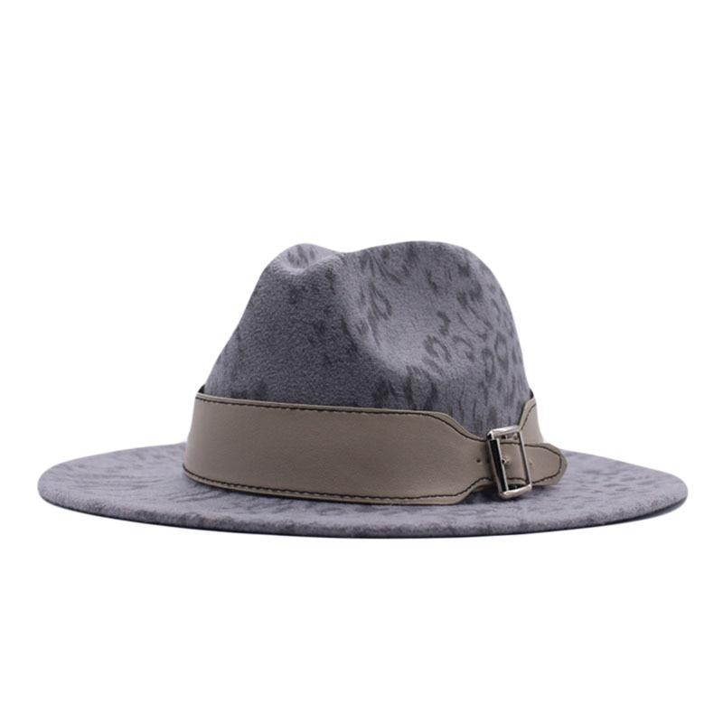 Classic Leopard Fedora Hat Wool Felt Jazz Fedora Hats Leather Buckle Men Wide Brim Vintage Elegant Women Trilby Cap vintage wool felt octagonal cloche hat