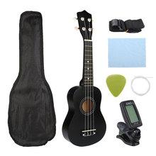 21 pouces Ukelele Soprano 4 cordes hawaïen épicéa tilleul guitare ensemble dinstruments de musique Kits + accordeur + ficelle + sangle + sac