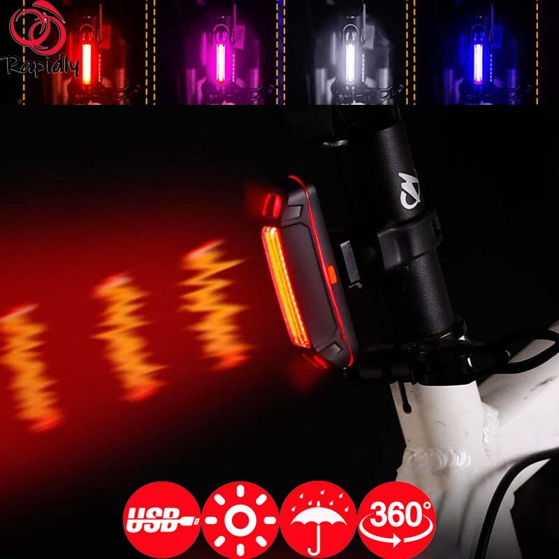 RAPIDLY Rear Light Bike Mount 500mAh Bicycle Signal Tail Lights Two-color Mountain USB Charging Safety Warning Accessories Girl