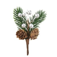 6pcsset mini fake pine needles plants with pine cones for christmas tree decorations diy scrapbooking wedding accessories