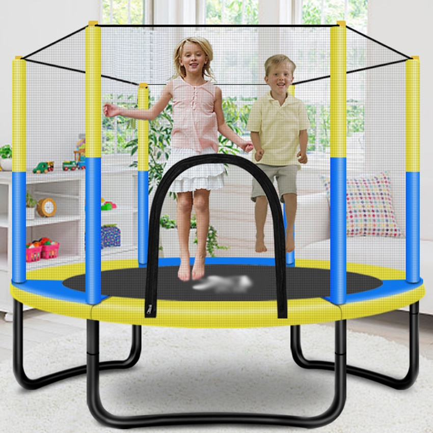 IMBABY Children's Trampoline with Enclosure Kids Jumping Bed Net Pad Indoor Outdoor Exercise Home Toys Hop Couch Support 200 KG