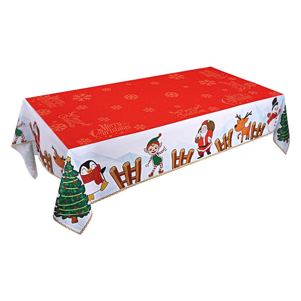 Bestonزون عيد الميلاد مفرش المائدة مستطيلة الجدول عداء الطاولات الطويلة غطاء مقاوم للماء وصمة عار مقاومة مفرش طاولة لعيد الميلاد Xm