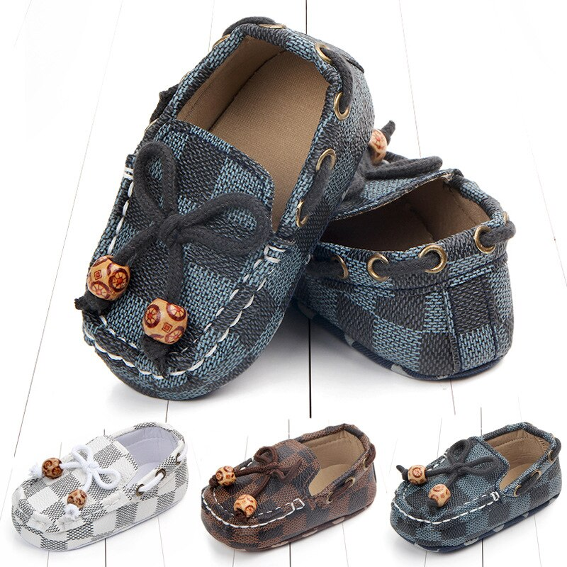 New Fashion Newborn Baby Boy Shoes Moccasins Patch Unisex Slip-On Plaid Casual New Born Toddler Baby Girl Shoes