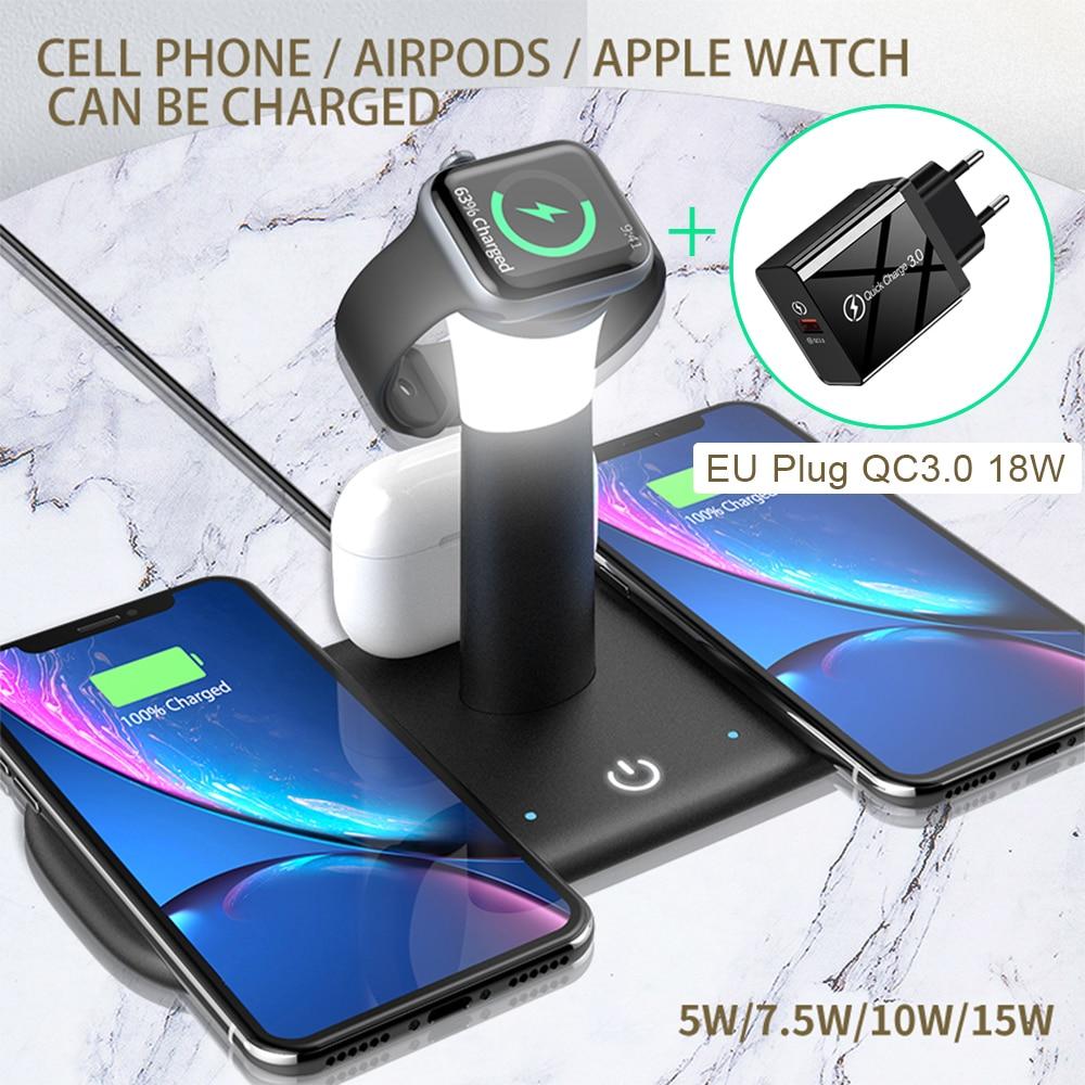 شاحن لاسلكي سريع Qi بقدرة 15 واط لهاتف iPhone 12 11 XR X 8 Apple Watch 5 في 1 مع مصباح خفيف محطة شحن حوض Airpods Pro iWatch