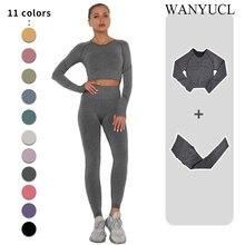 Seamless Yoga Set Women Workout Sportswear Gym Clothing Fitness Long Sleeve Crop Top High Waist Legg