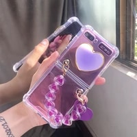 girl heart stand holder airbag transparent case cover with cute purple love bracelet hand chain for samsung galaxy z flip 45g 3