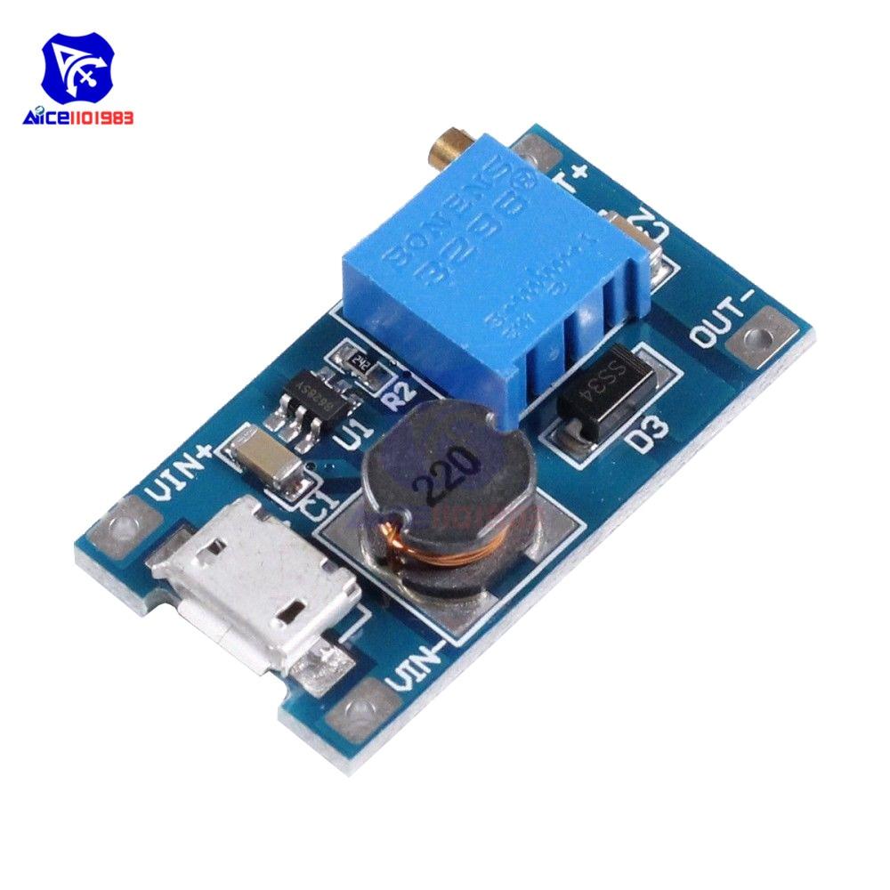 Модуль понижающего преобразователя MT3608 с 2-24 В на 5-28 в 6 в 12 В 24 В 2 а с микро-usb интерфейсом, регулируемым 3296