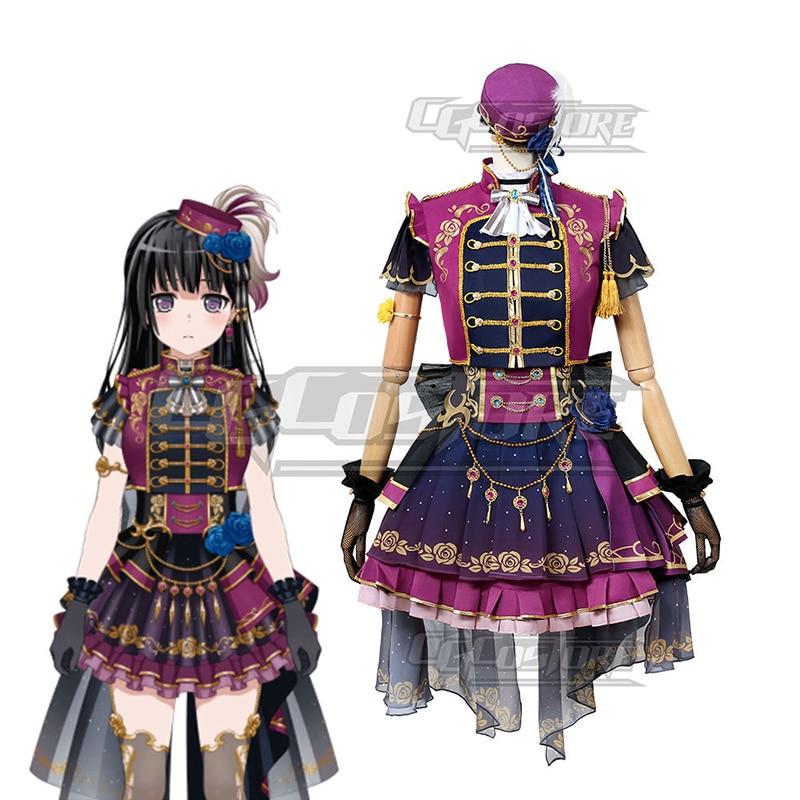 Anime Bang Dream! Shirokane Rinko Cosplay Costume Dresses Hat Game Christmas Halloween Free shipping CG666