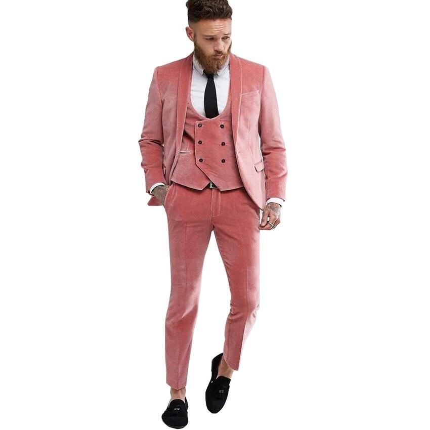 بدلة رجالية مخملية وردية اللون, بدلة رجالية مخملية ، بدلات رسمية وردية اللون لحفلات الزفاف ، (جاكيت + سترة + سروال)