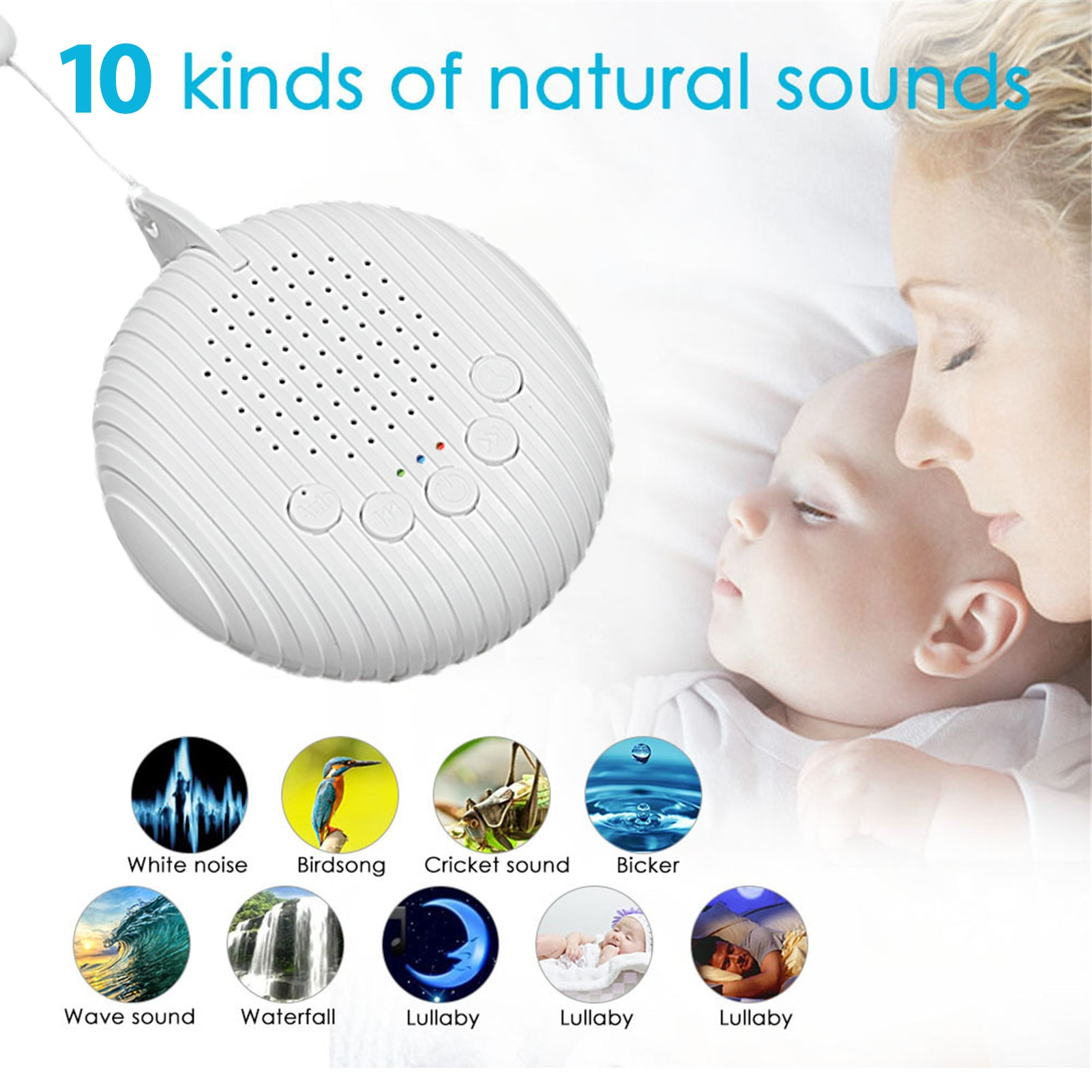 White Noise Machine Sleep Sound Machine For Sleeping & Relaxation For Baby Adult Office Travel Built In USB Timer