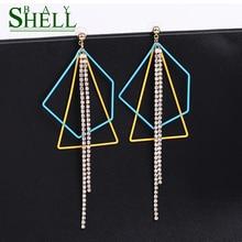 Moda coreana colgante de diamante de imitación pendientes largos de gota para mujeres simple Irregular borla de cadena metálica joyería de cristal brinco bijoux