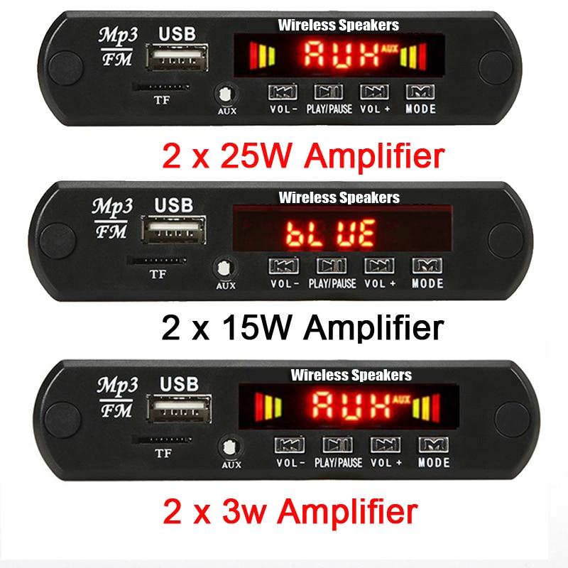 2*15W/2*25W Amplifier MP3 Player Module Bluetooth-compatible 5.0 Decoder Board 12V 50W Amplifier Car