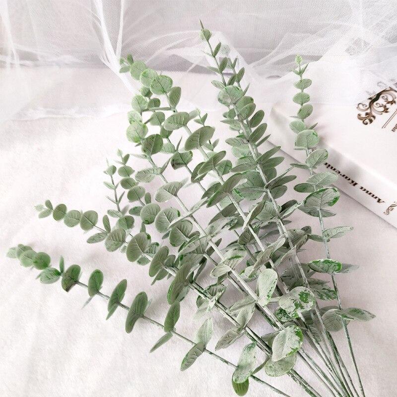10 шт., пластиковые листья эвкалипта, искусственные растения, цветочный материал, домашний декор, свадебный цветок, стена, моделирование, зел...