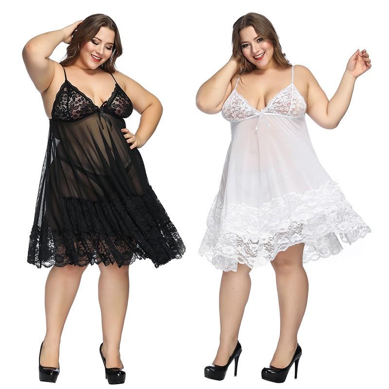 HKMN Erotic Underwear Plus Size S-7XL Lingerie Women Baby Dolls Fishnet Lace Costumes Sex Underwear Exotic Apparel Sleep Dress
