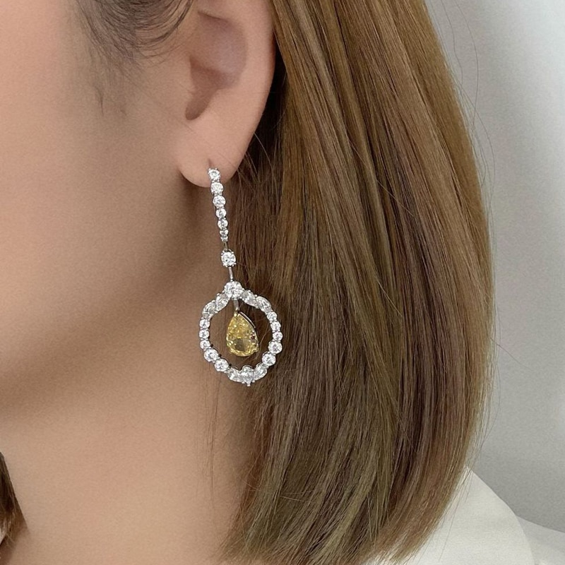 OEVAS 100% 925 Sterling Silver 8*12mm Water Drop Yellow High Carbon Diamond Drop Earrings For Women Sparkling Party Fine Jewelry