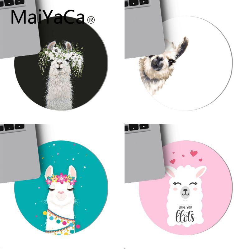 Коврик для мыши MaiYaCa Lama Llama Alpacas Animal Keyboard, нескользящий коврик для мышки для ноутбука 220x220 мм, круглый коврик для мыши